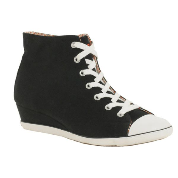Converse Wedge Hi-Top Trainer ($76) ❤ liked on Polyvore featuring shoes, sneakers, footwear, women, low wedge sneakers, lace up wedge sneakers, high-top sneakers, converse trainers and converse sneakers