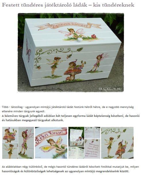 Tündéres játéktároló kis tündéreknek. Nézd meg, katt az alábbi linkre >> http://eradekor.hu/keresztelo-ajandek/festett-tunder-jatektarolo-lada-antikolt-feher/