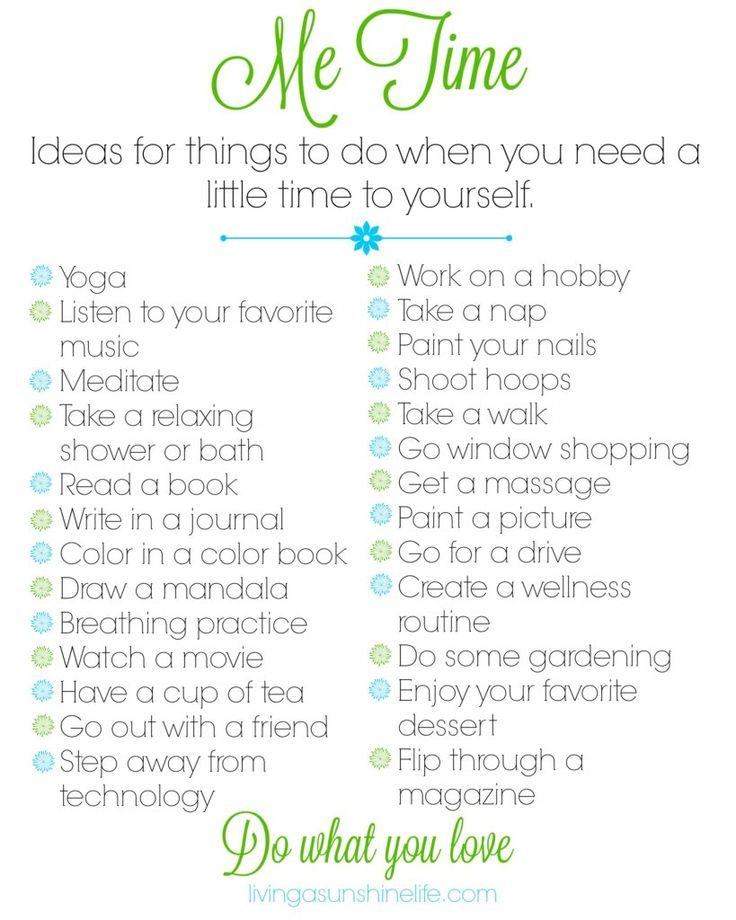 Me Time Printable. Print off this idea list and keep it handy for when you're looking for some me time inspiration.