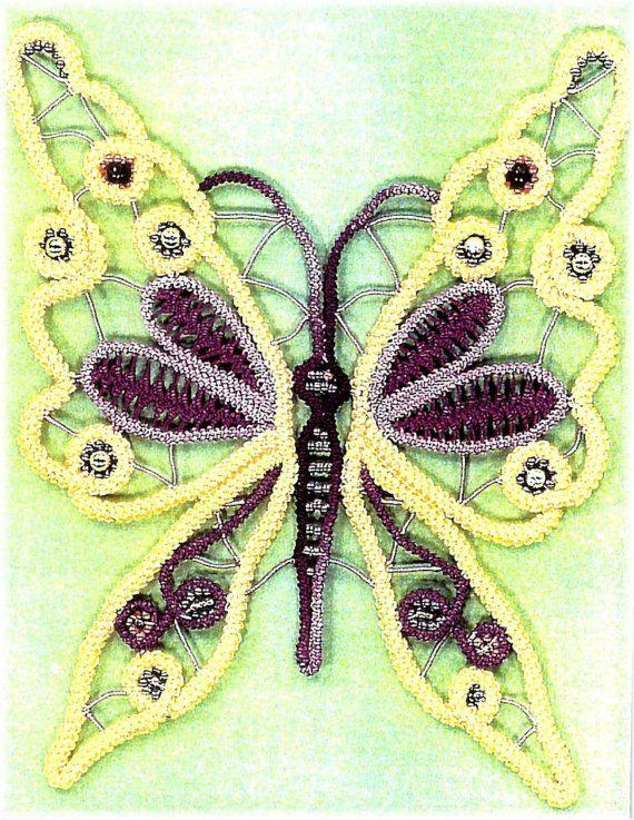 Romanian Point Lace Pattern - Beaded Butterfly, clothing embellishement, needle lace, needlecraft, crochet via Etsy
