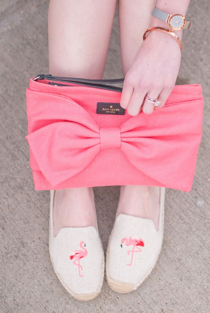 This pink Kate Spade bow clutch pairs perfectly with my favorite espadrilles.