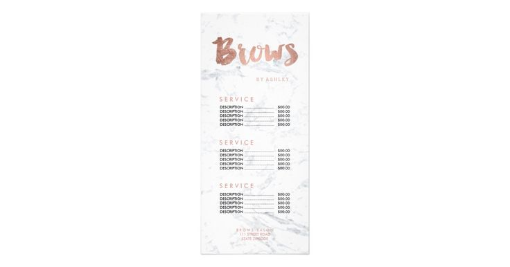 Brows beauty, modern, stylish beauty business price list with tariffs with modern hand lettering style brush typography in faux rose gold foil on a trendy and elegant white marble background. If you need any customization, don't hesitate in contacting me