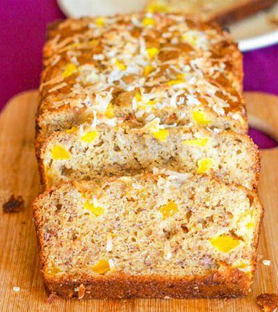 White Chocolate Mango Banana Bread. http://recipesjust4u.com/white-chocolate-mango-banana-bread/