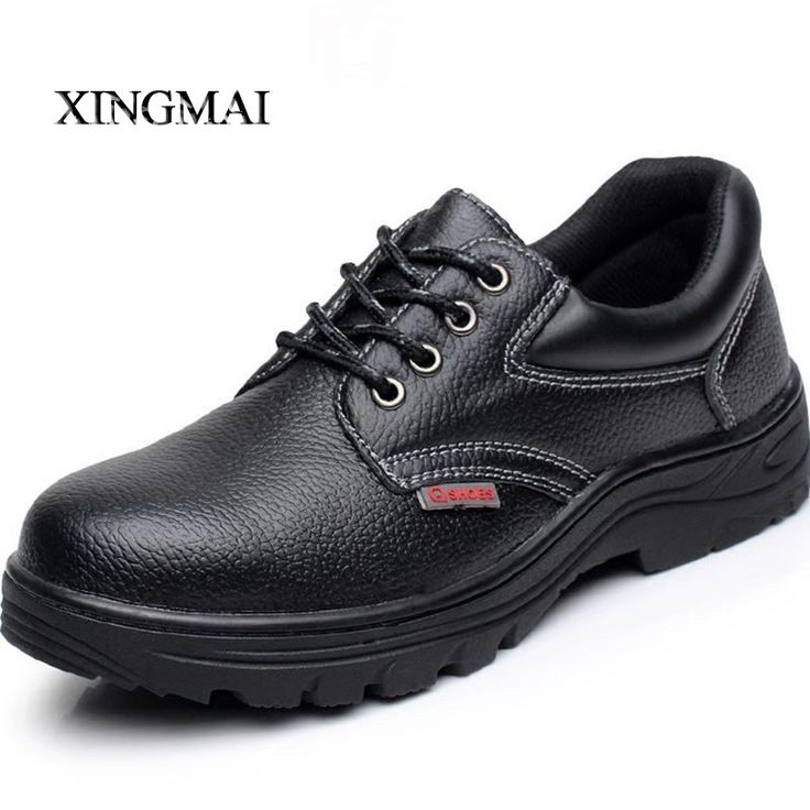 Plus Size 37-46 Genuine Leather Men Work Safety Shoes steel toe cap Puncture and Prevention Safety Men Ankle Boots