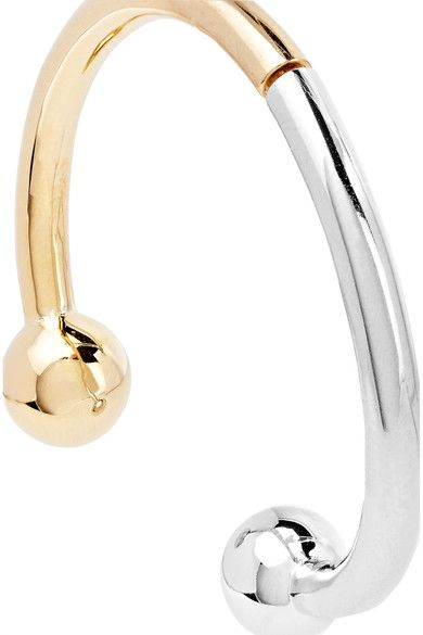 Eddie Borgo - Curved Barbell Hoop Gold And Rhodium-plated Earrings - one size