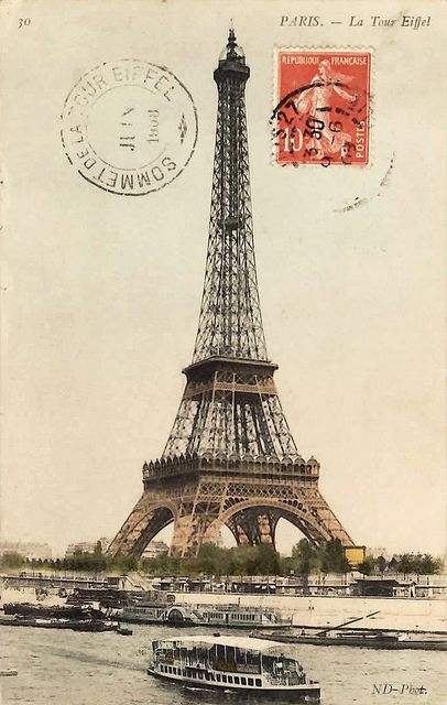 Eiffel Tower, Paris, France. - Someday I'll get there...until then I'll just dream with my antique post card.....