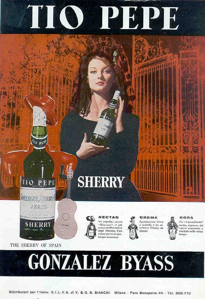 "1966: ""Tio Pepe"" Sherry de González Byass. Mujer de mantilla. Néctar, Crema, Rosa. / 1966: González Byass ""Tio Pepe"" Sherry. Woman with a Spanish shawl. Nectar, Cream, Rose."