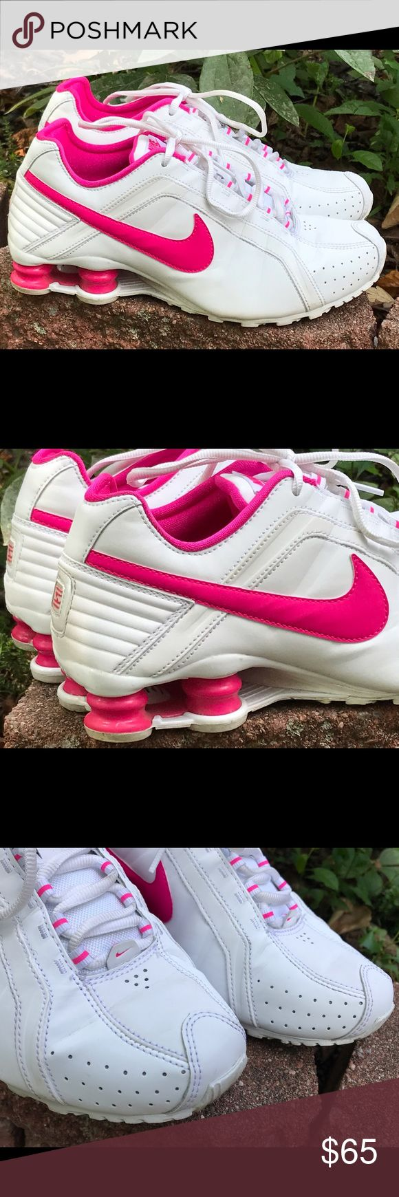 Nike 'Shox Junior' pink white sneakers women's 7.5 Excellent condition. Very lightly worn. From smoke-free home. Womens size 7.5. Nike Shoes Sneakers