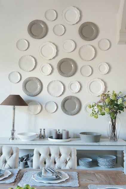 Farmhouse Dining Room by Sims Hilditch Love the plates on the wall
