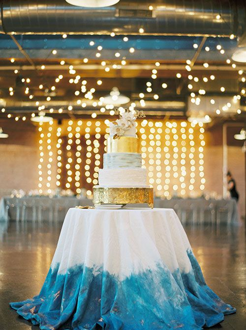 Modern Blue White and Gold Wedding Cake | Brides.com