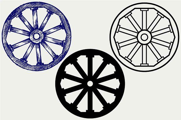 Wooden wheel SVG DXF by LineworkStock on @creativemarket