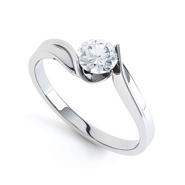 """Mantova"" TENSION SET TWIST ROUND SOLITAIRE ENGAGEMENT RING Simple, elegant and modern tension style twist engagement ring which reveals every facet of the round brilliant cut diamond."
