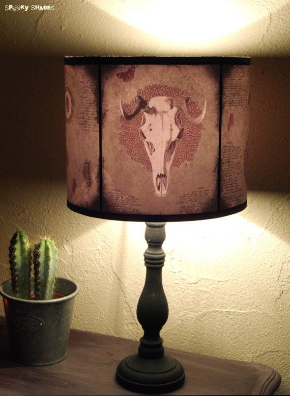 Animal Skull Lamp Shade Lampshade Mechanical Animals Old West Unique Light Lighting Drum Lamp Shade Home