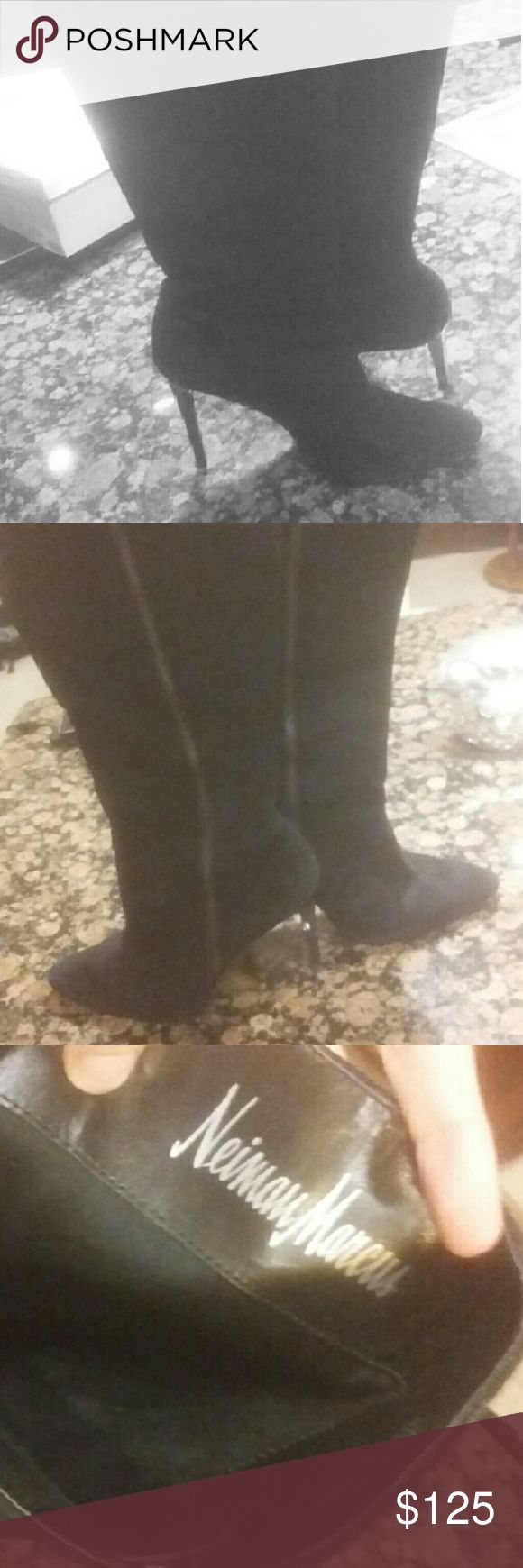 Neiman Marcus Knee high heel black suede boots These go right below the knee. A little dirt on the bottom of the shoes but overall they're in great condition. Come as is, no box. Open to offers. Neiman Marcus Shoes Heeled Boots