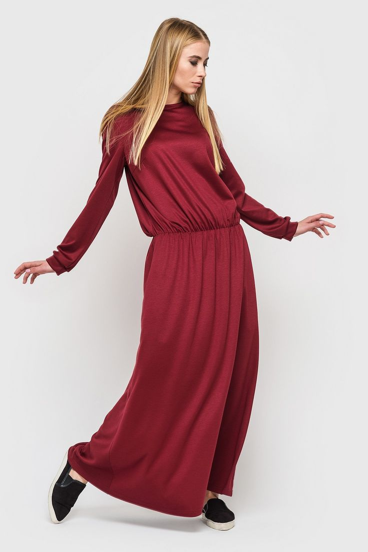 Bordeaux A-shaped drop waist maxi dress 47$. If you haven't got A-shaped #dress yet, you should to correct this situation. This dress is super suitable for daily outfit and #looks not trivial at the same time - this all because of bordeaux colour. #Maxi length and drop waist adds more feminine and mystery. This dress is made by pleasant jersey fabric, which will warm you at cold time. #VOVK