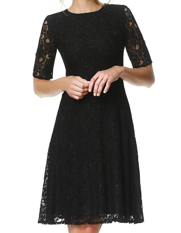 Amber - zwart - Uitlopende kanten jurk | LaDress