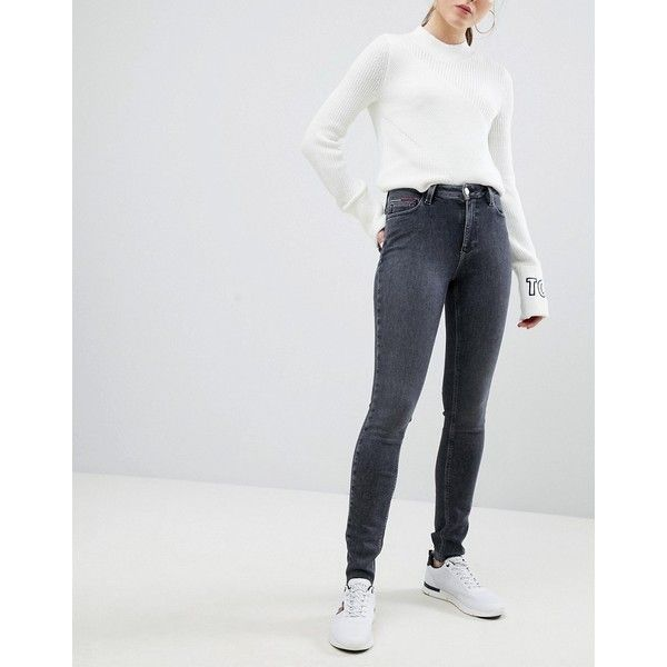 Tommy Jeans Santana High Waist Skinny Jeans (€120) ❤ liked on Polyvore featuring jeans, black, skinny fit denim jeans, super high-waisted skinny jeans, zipper skinny jeans, denim skinny jeans and high waisted jeans