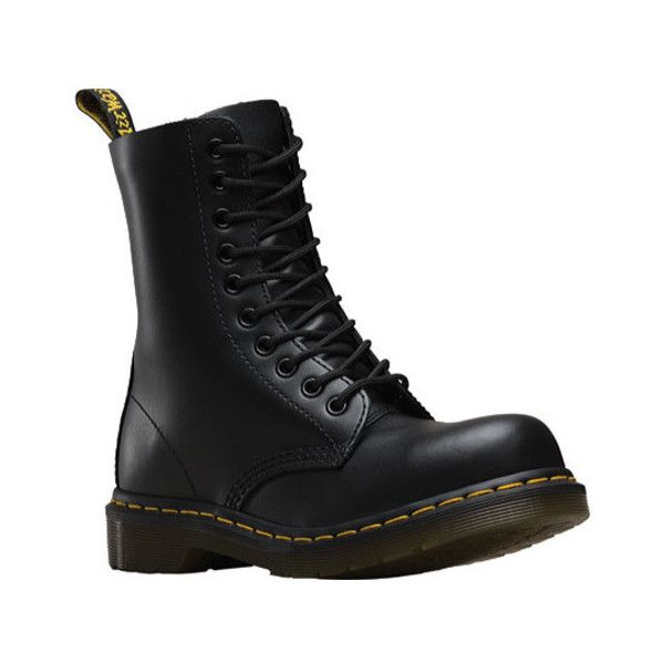 Dr. Martens 1919 10-Eye Steel Toe Boot ($140) ❤ liked on Polyvore featuring shoes, boots, black, casual footwear, casual shoes, black laced shoes, laced up boots, black punk boots, cap toe boots and laced boots