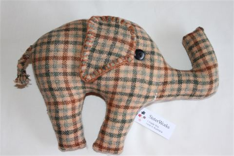 Elephant : These friendly creatures are all cotton and hand stitched by Lapkha from Tibet. Each has its own personality and character.