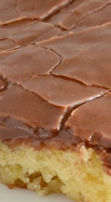 White Sheet Cake with Chocolate Frosting