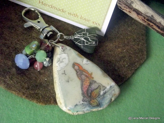 scottish sea glass and porcelein hand sketched by LianaMarcel, $15.00