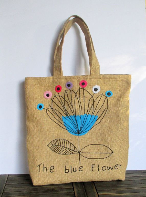 Blue astract flower , handmade jute Tote bag, unique, sporty chic, summer tote bag, colorful tote bag
