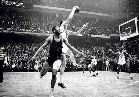 John Havlicek stealing the ball in Game 7 of the 1965 Division Final against the 76ers to seal the win.