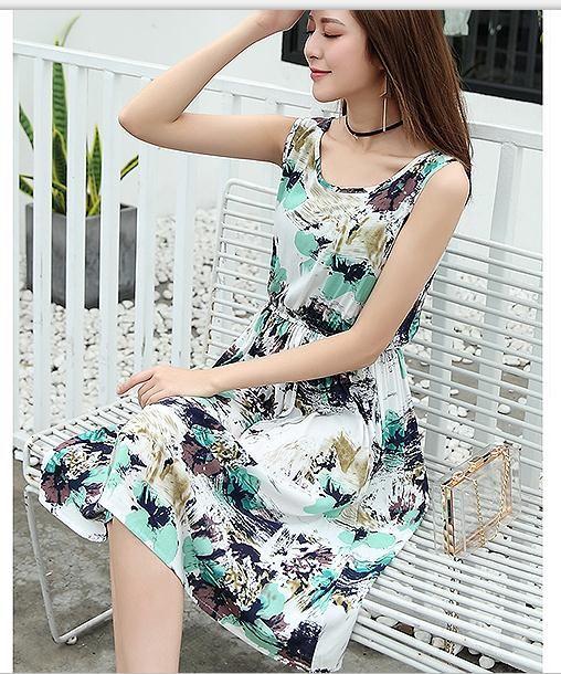 2017 vintage summer dress women o-neck sleeveless party dresses vestidos mujer beach mini dress boho plus size robe jurken - T3, L