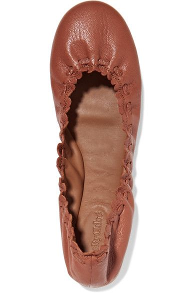 See by Chloé - Scalloped Textured-leather Ballet Flats - Brown - IT