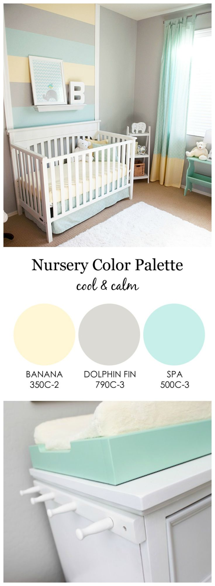 Spa bathroom color schemes - Cool And Calm Gender Neutral Nursery Love The Mint Green Gray And Light