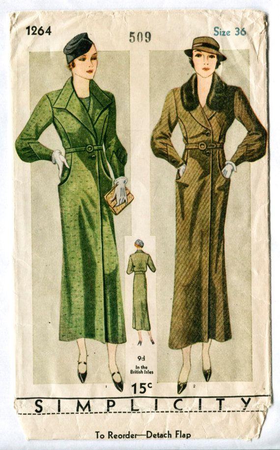 Vintage Sewing Pattern 1930s 30s Simplicity 1264 coat fur collar belt pockets…