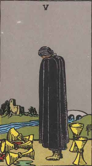 Five of Cups-One sorrows over three split cups and behind remain two upright cups he doesn't notice. This can apply to whatever he holds dear and can also mean miserliness with regard to love and emotion as well as money. A risk may need to take place in order to get things moving again.