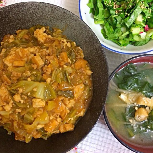 全部植物性のみです♡ - 3件のもぐもぐ - ベジタリアン、ビーガンの麻婆豆腐丼とかぶの葉っぱと薄揚げのお味噌汁とかぶの葉っぱのサラダ by Vivian AnimalRights