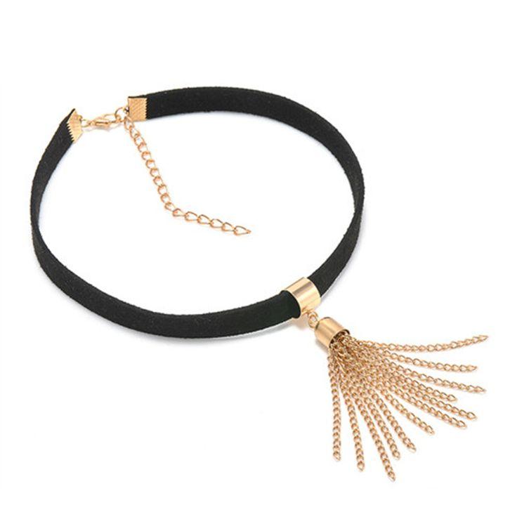 Harajuku Fashion Black Gold Tassel Choker Necklace Wrap Gold Plated Pendant Necklace For Women Girls Free Shipping