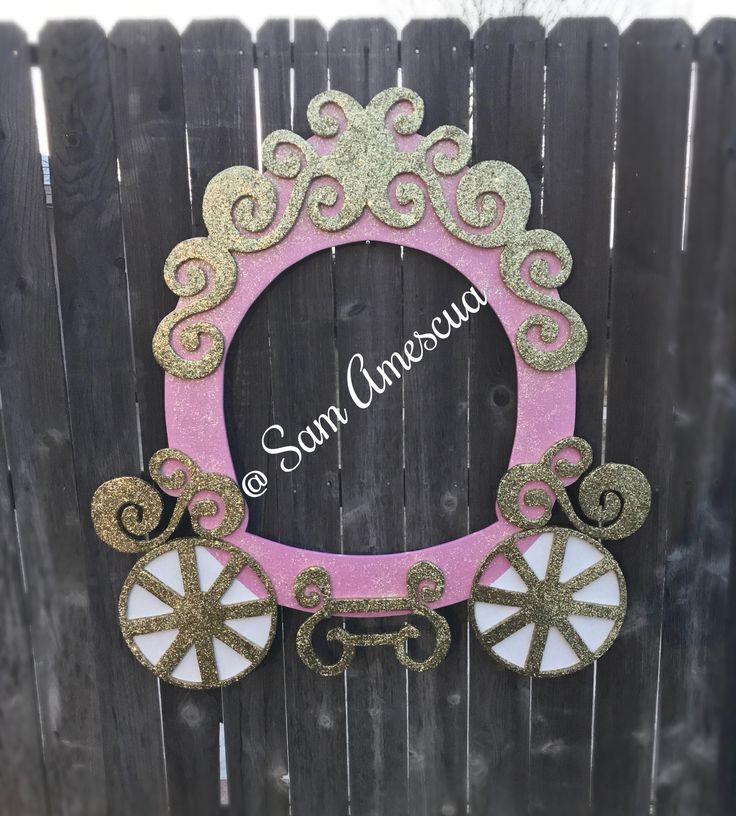 Princess carriage- princess party- pink and gold decorations- princess selfie frame- princess photo booth prop