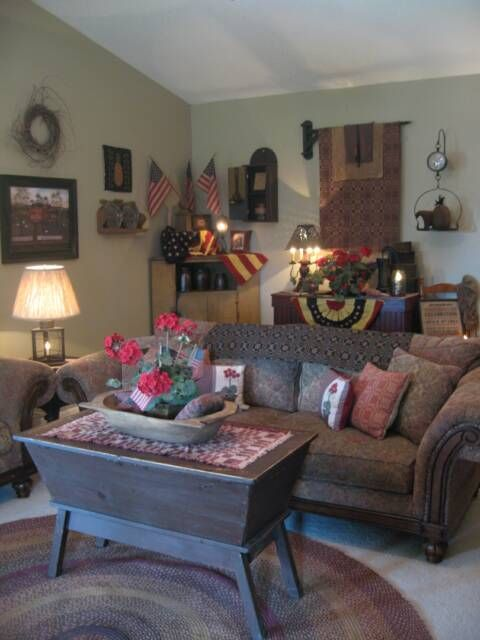 17 best images about primitive americana living room for Primitive decorating ideas for living room