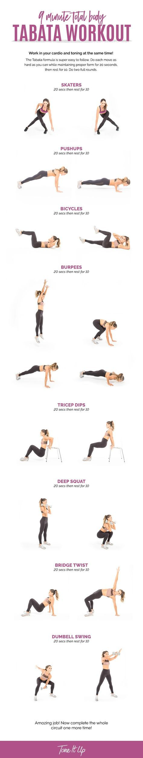 9 Minute Total Body Tabata Workout. Get your cardio AND toning on at the same time! It's dual action body love to majorly boost your metabolism and build beautiful, lean muscle!
