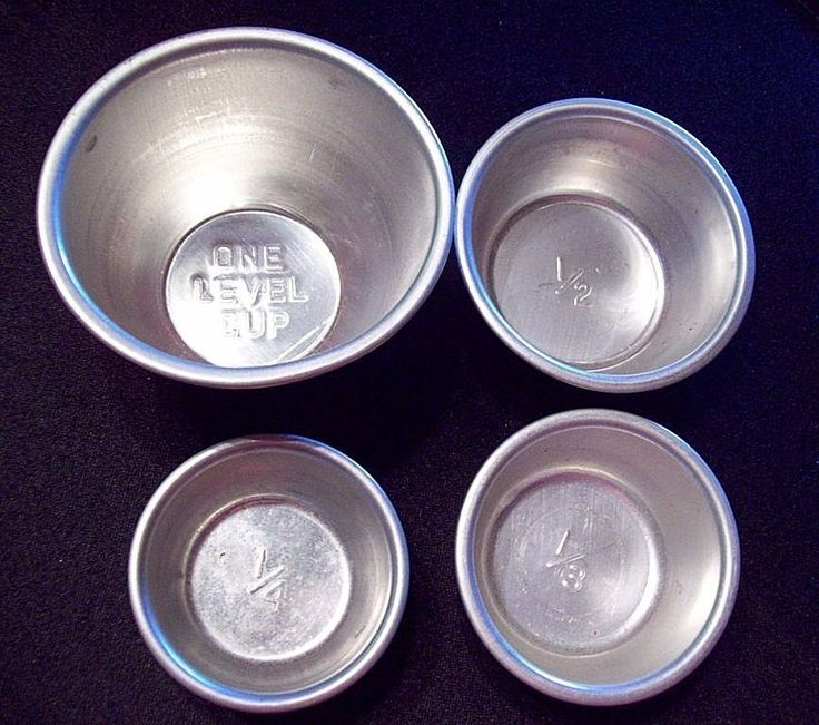 Vintage Aluminum Measuring Cups ~ 1 cup 1/2 cup 1/3 cup 1/4 cup Dry Measure NICE #midcentury #vintage