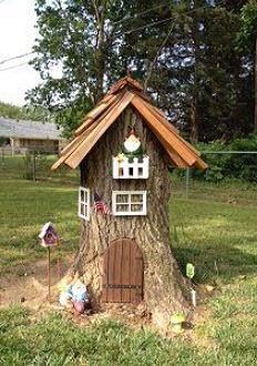"Great idea to ""hide"" tree stumps - create a fairy or gnome home!"