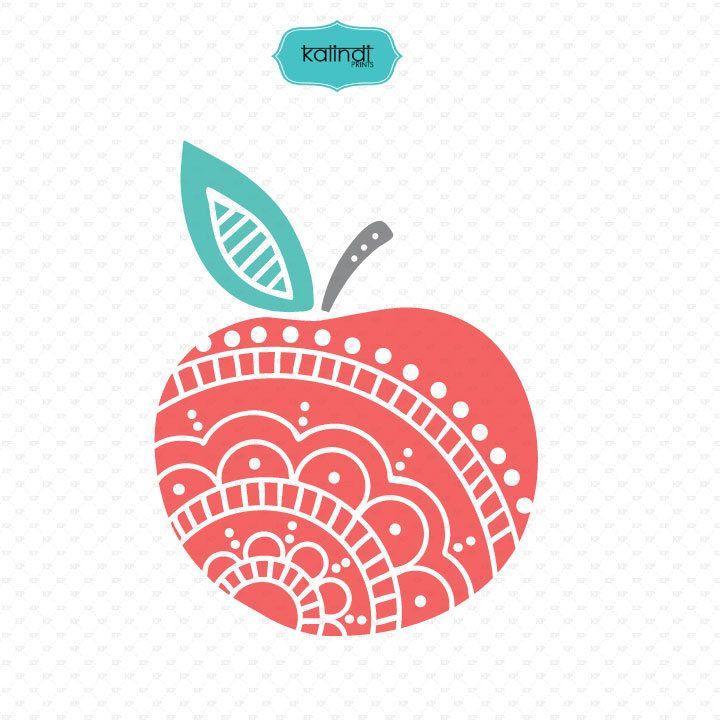Apple mandala svg files, teacher, flowers svg, teacher svg, apple flourish svg , teacher vector file, svg, cut files, mandala svg Id#svgap3 by KalindiPrints on Etsy