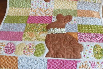 Chocolate Bunnies table runner pattern by Margot Languedoc at The Pattern Basket