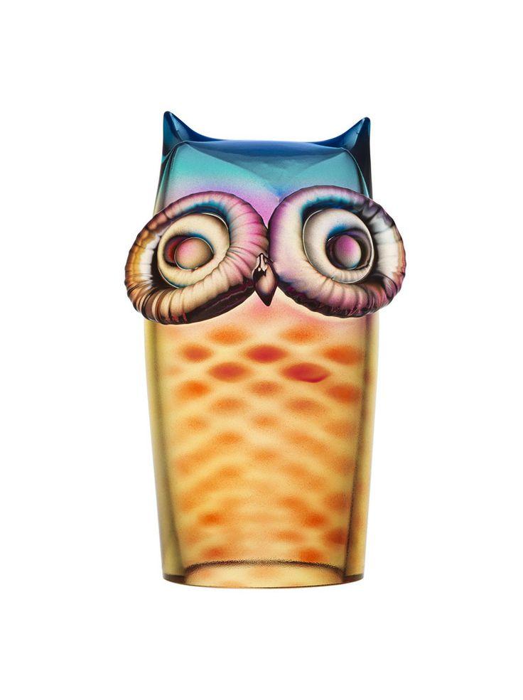My Wide Life Owl Red/Yellow/Blue, design by Ludvig Löfgren for Kosta Boda