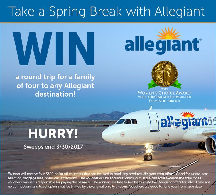 Enter to win a round trip flight for a family of four to any Allegiant destination! http://social.viralapps.com/ugnszb/inygim #travel #giveaway