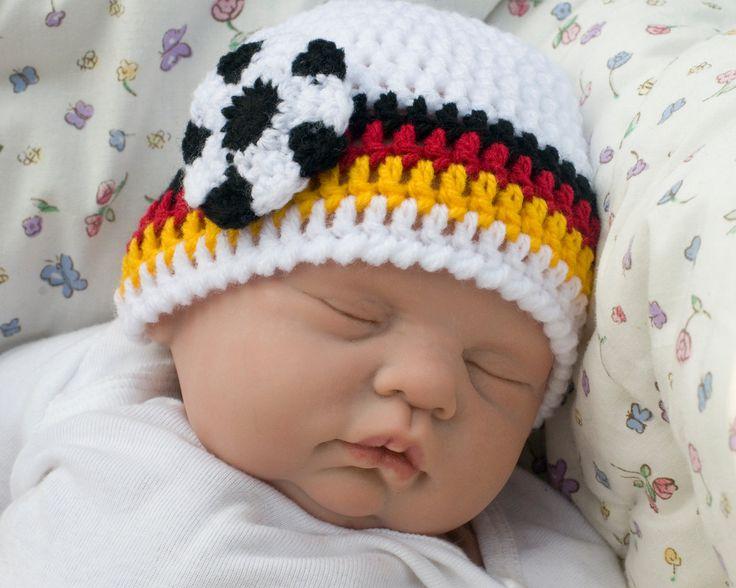 WORLD SOCCER HAT Crochet Baby Boy Soccer, Germany Flag Black Gold Red Football, Knit Baby Soccer Beanie, Baby Soccer Hat, Soccer Baby Gift, by Grandmabilt on Etsy