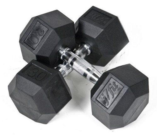 JFit Rubber Coated Hex Dumbbells - 30 lb. Pair. Rubber Coated Hex Dumbbells: 30 lbs. each. Made from solid cast iron with 6-sided anti-roll design. For sculpting firm upper body. Elastic rubber coating prevents damage to floors. Sold as pair.