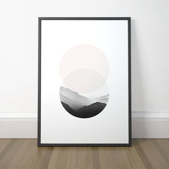 Scandinavian Circle Art, Modern Circle Art, Minimalist Mountain Print, Minimalist Circle Mountain Art, Instant Download, Digital Print