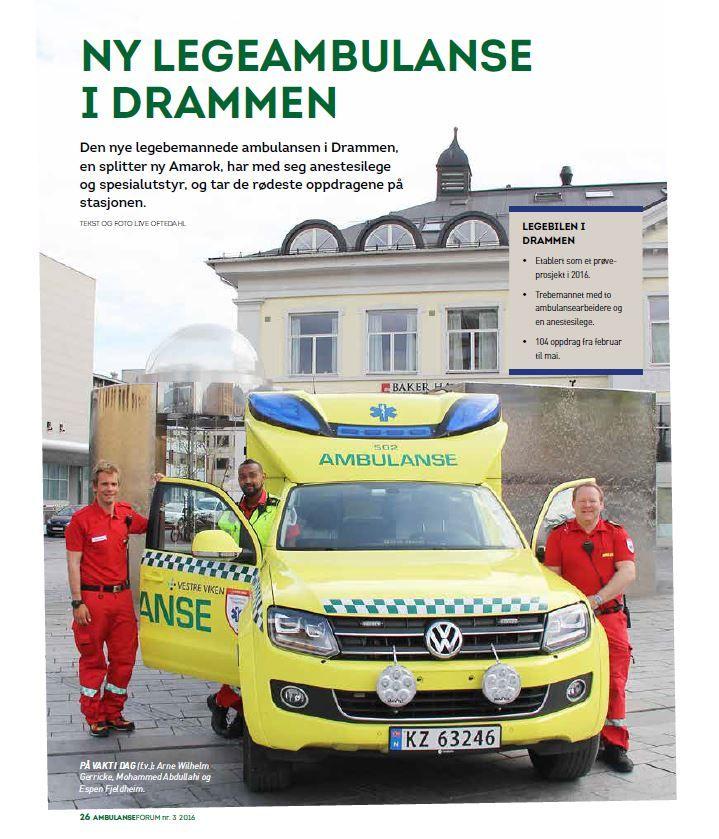 Ny legeambulanse i Drammen Norge. New medical ambulance in Drammen Norway. Read the article (in Norwegian) published in Norwegian emergency service trade journal Ambulanseforum 3/2016:  https://ambulanseforum.no/