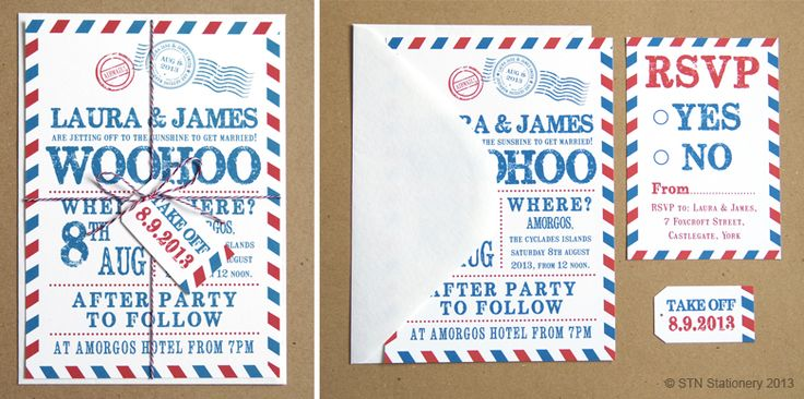 How cute is this this wedding air mail invitation from #SomethingNewStationery? They will be exhibiting with us at The North East Wedding Show in #Newcastle, so hurry up and book your ticket now!  http://www.theukweddingshows.co.uk/newcastle-wedding-show/?utm_source=social%20media&utm_medium=pinterest&utm_campaign=SNS