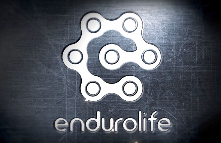 "A logo for enduro motorcycling youtube channel endurolife. They used chain links to spell the letter ""e"". The chain suggest mechanically propelled vehicle or motorcycle. This could also be used in cycling."