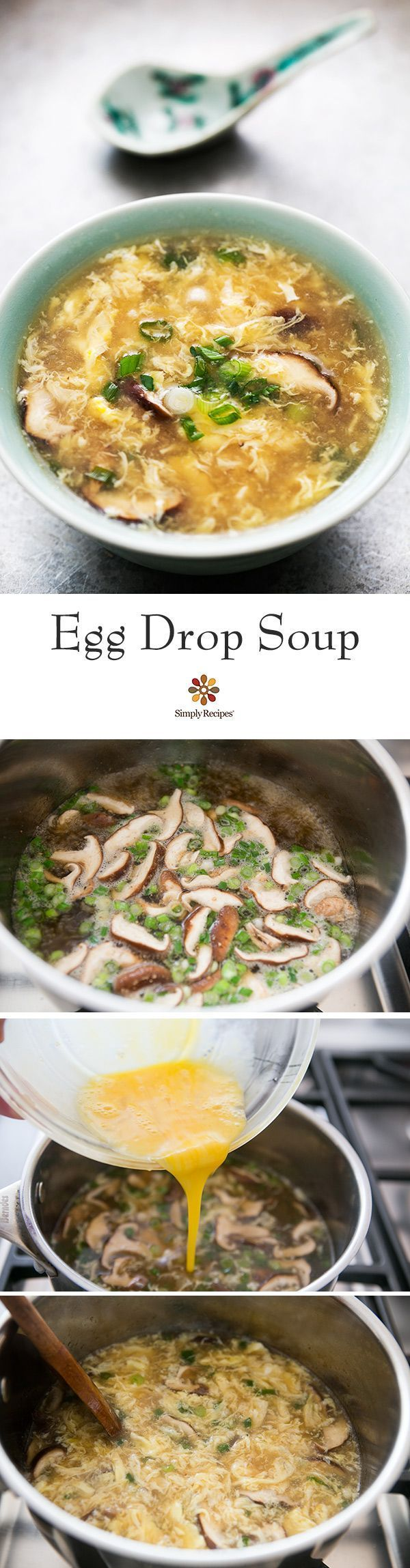 Easy! This classic Chinese egg drop soup comes together in minutes, with just a few simple ingredients—stock, soy sauce, eggs, ginger, green onions, mushrooms. #glutenfree #lowcarb On http://SimplyRecipes.com